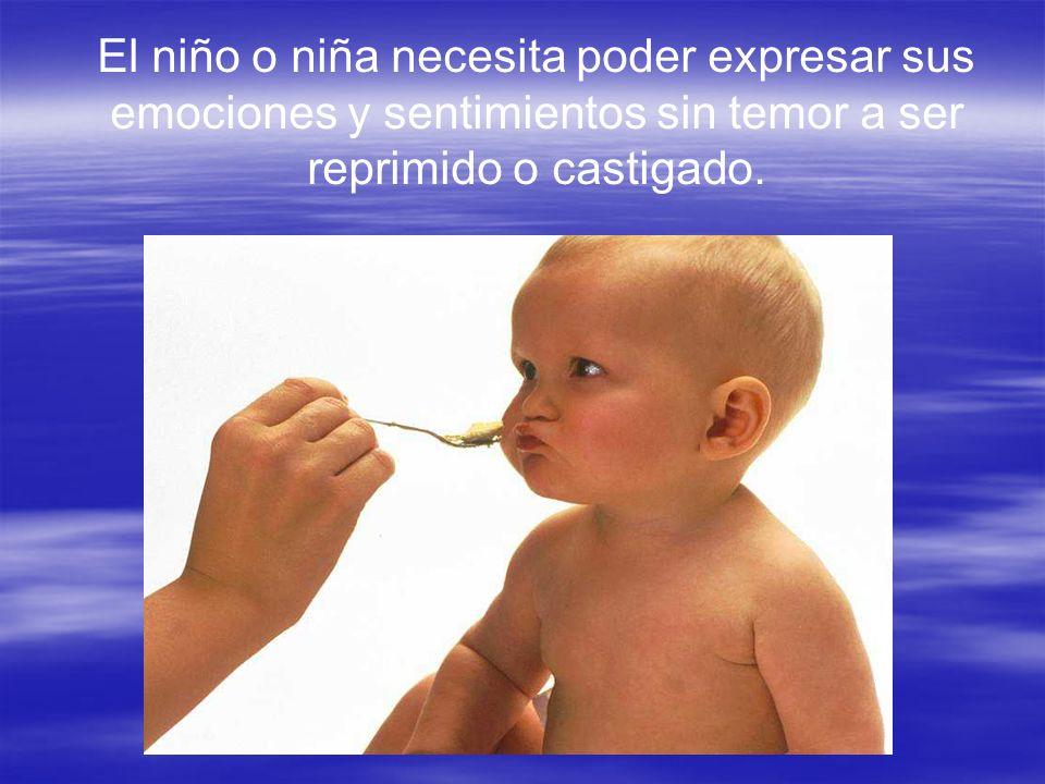 El niño o niña necesita poder expresar sus emociones y sentimientos sin temor a ser reprimido o castigado.
