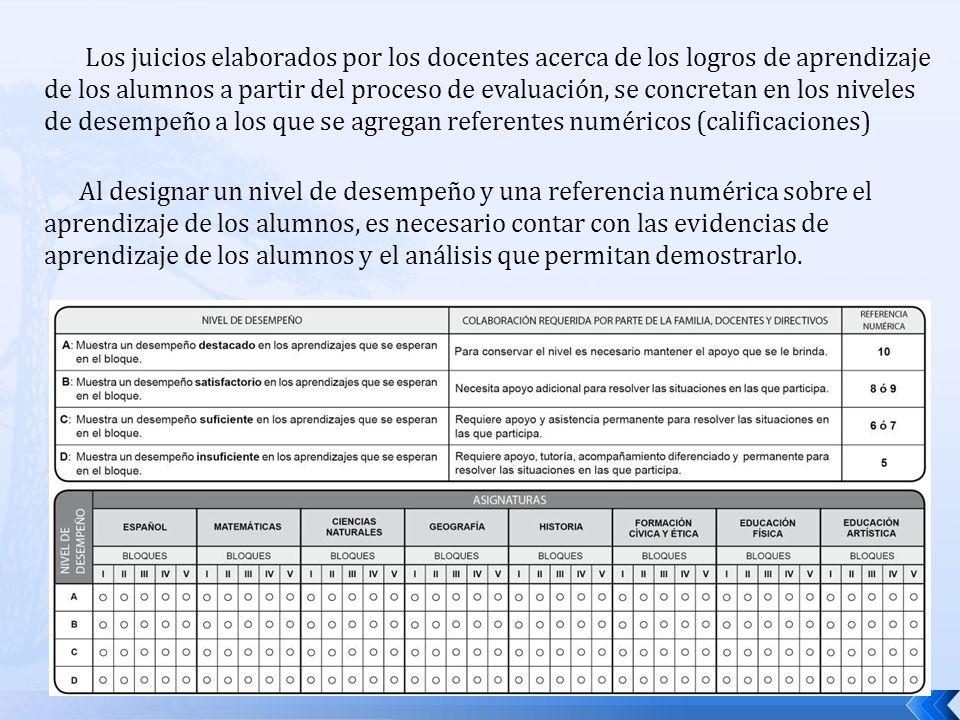 Los juicios elaborados por los docentes acerca de los logros de aprendizaje de los alumnos a partir del proceso de evaluación, se concretan en los niveles de desempeño a los que se agregan referentes numéricos (calificaciones)