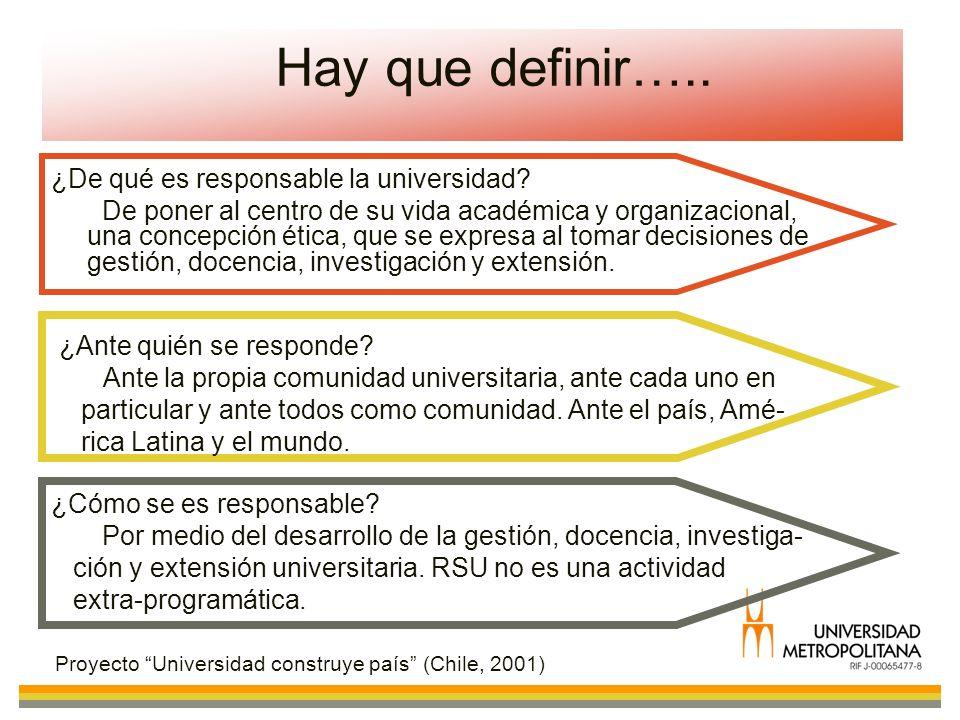 Hay que definir….. ¿De qué es responsable la universidad