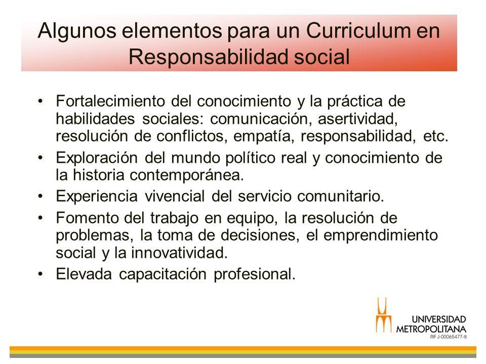 Algunos elementos para un Curriculum en Responsabilidad social