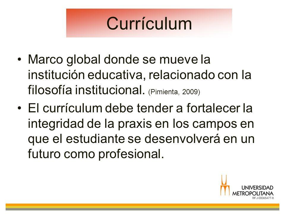 CurrículumMarco global donde se mueve la institución educativa, relacionado con la filosofía institucional. (Pimienta, 2009)