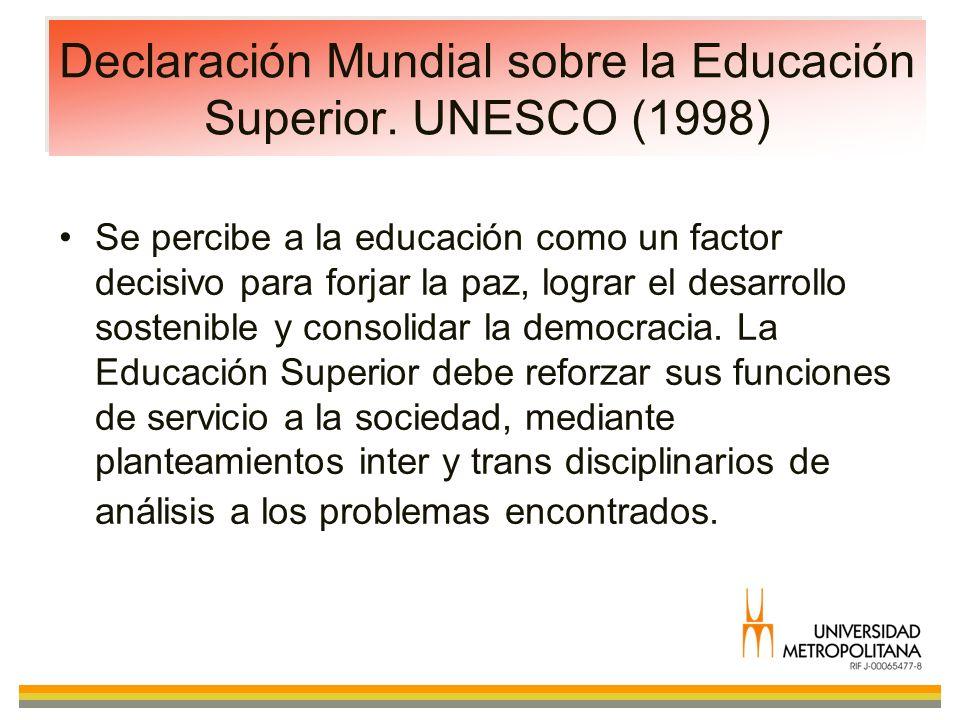 Declaración Mundial sobre la Educación Superior. UNESCO (1998)