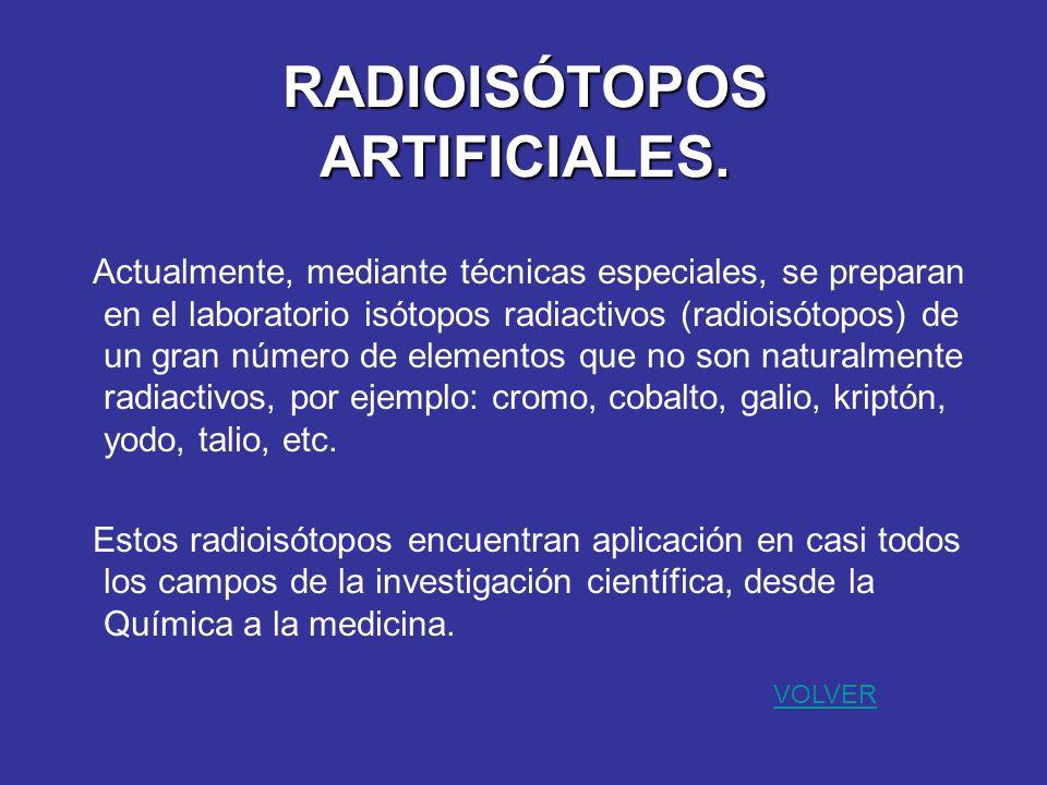 RADIOISÓTOPOS ARTIFICIALES.