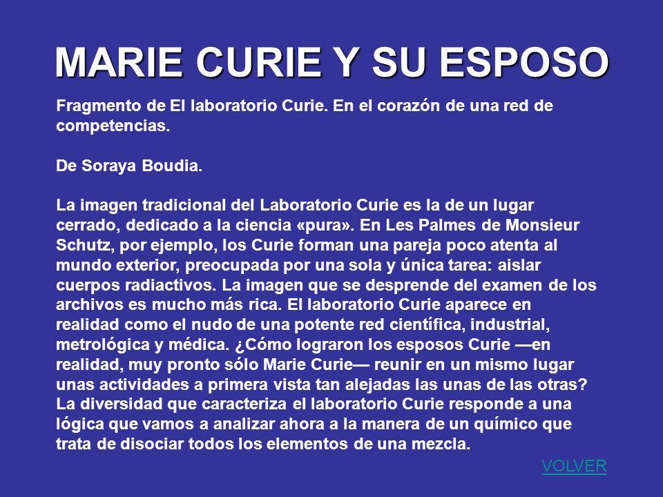 MARIE CURIE Y SU ESPOSO Fragmento de El laboratorio Curie. En el corazón de una red de competencias.