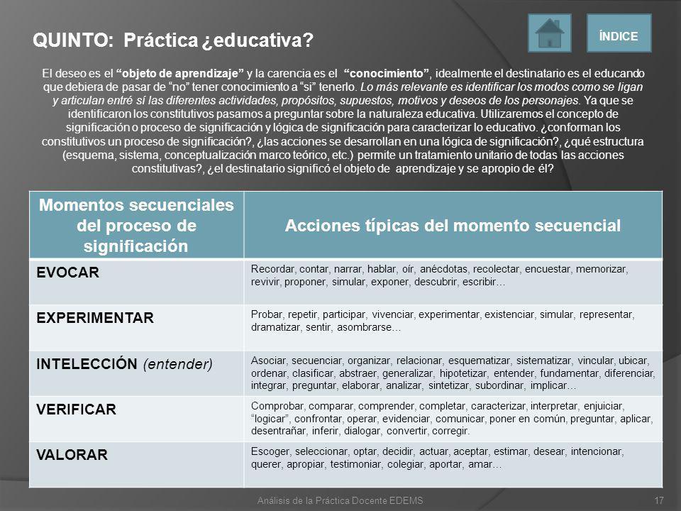 QUINTO: Práctica ¿educativa