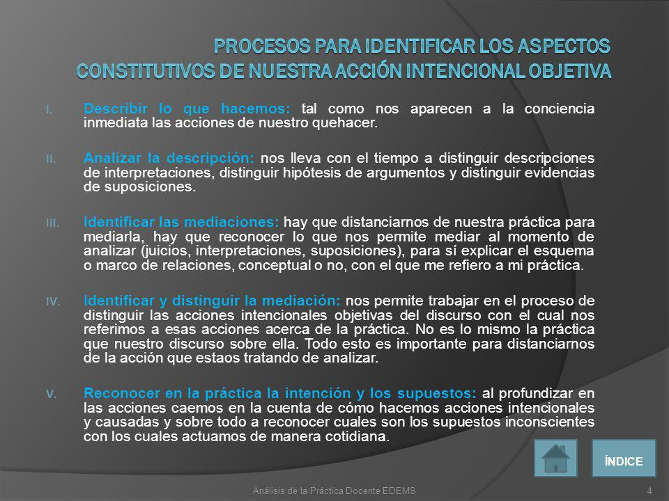 Análisis de la Práctica Docente EDEMS
