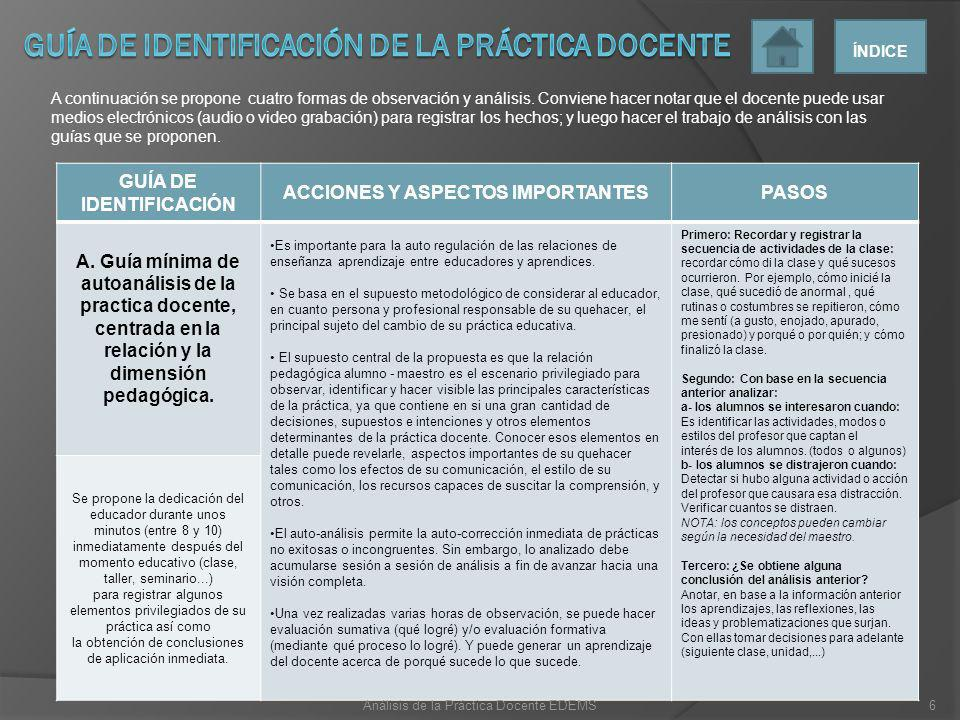 Guía de identificación de la práctica docente