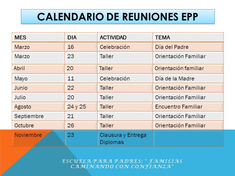 CALENDARIO DE REUNIONES EPP