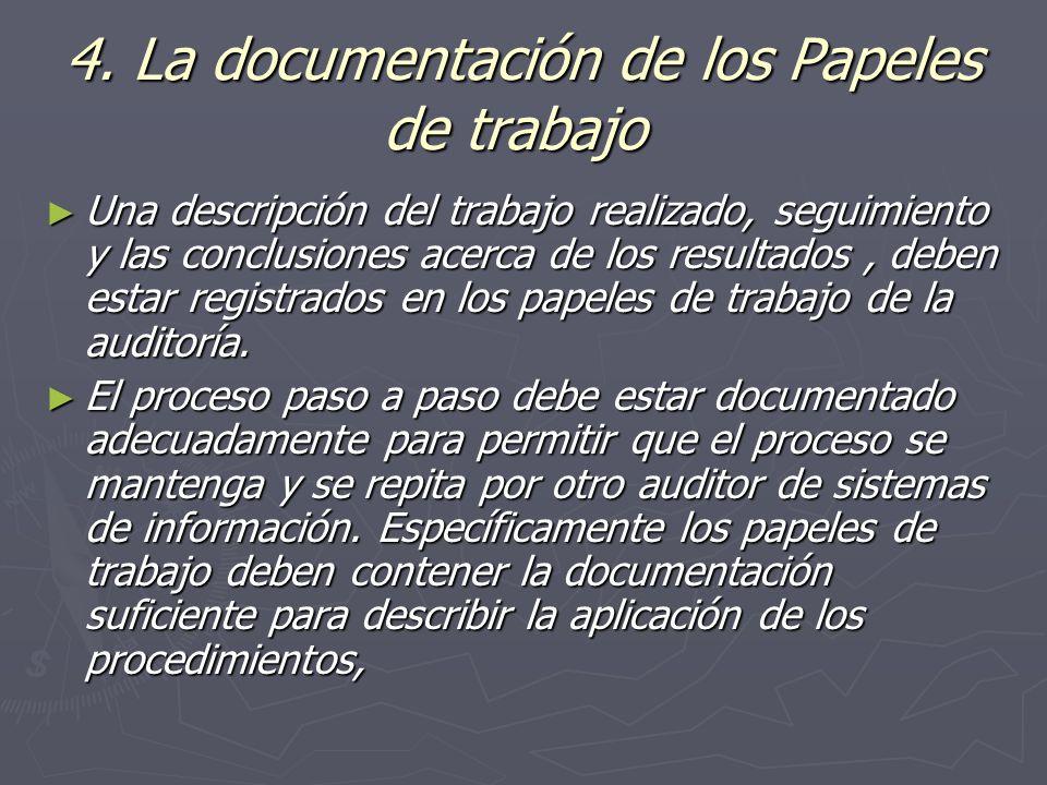 4. La documentación de los Papeles de trabajo