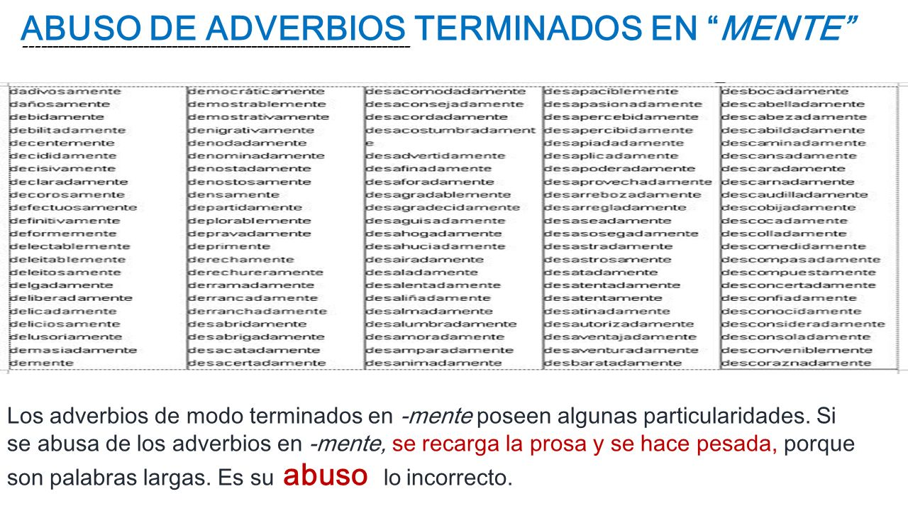 ABUSO DE ADVERBIOS TERMINADOS EN MENTE