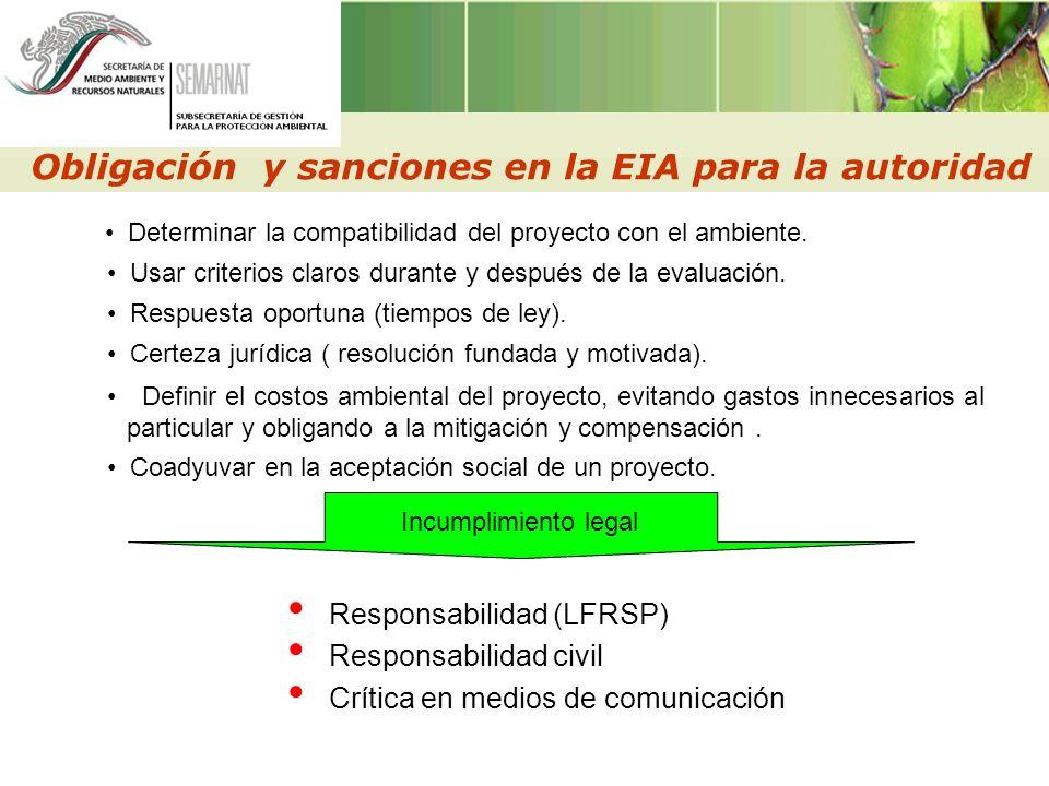 Obligación y sanciones en la EIA para la autoridad