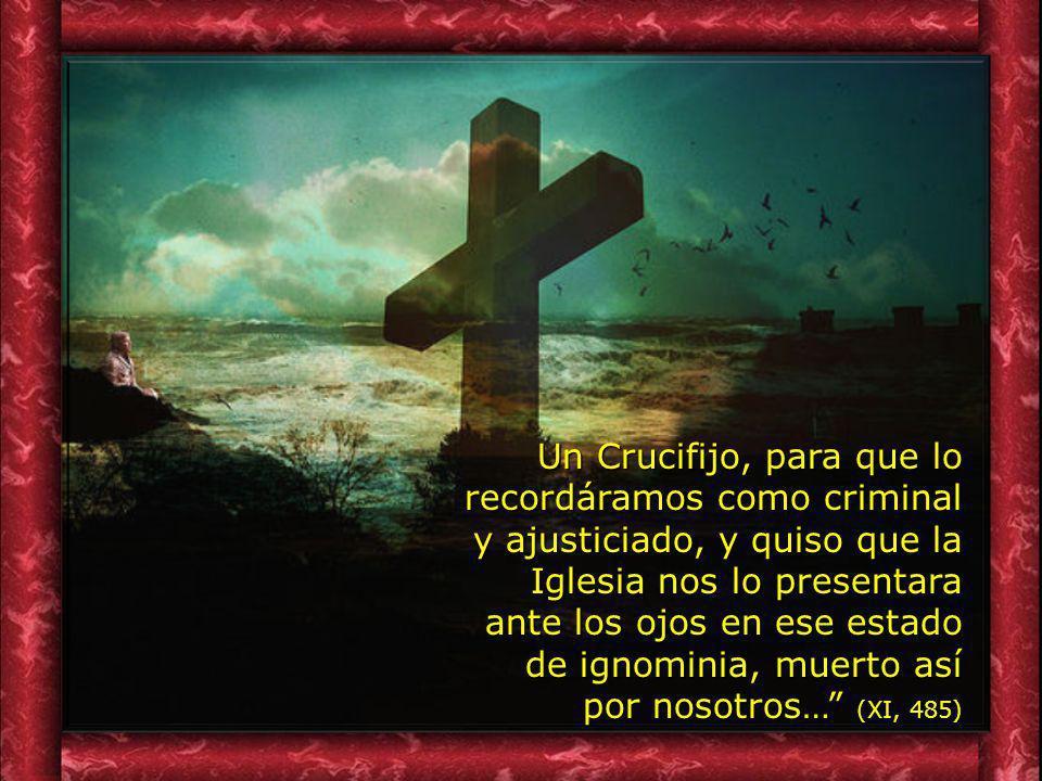 Un Crucifijo, para que lo recordáramos como criminal y ajusticiado, y quiso que la Iglesia nos lo presentara ante los ojos en ese estado de ignominia, muerto así por nosotros… (XI, 485)