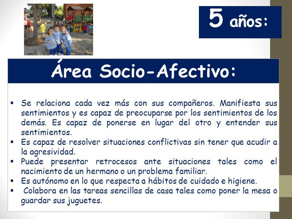 Área Socio-Afectivo: 5 años: