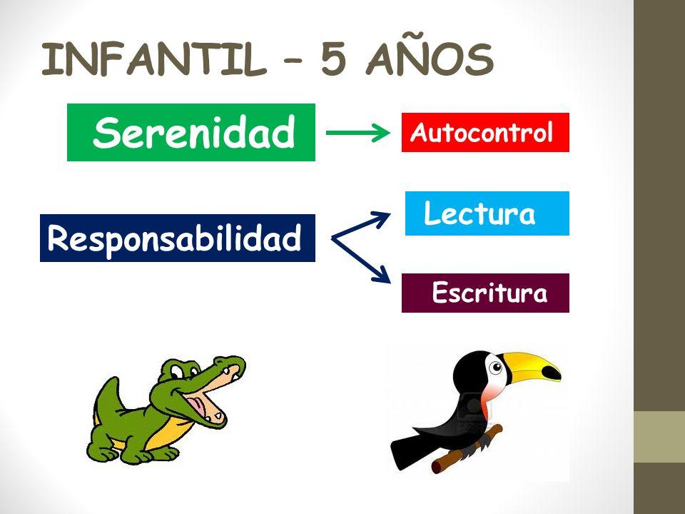 INFANTIL – 5 AÑOS Serenidad Responsabilidad Autocontrol Escritura