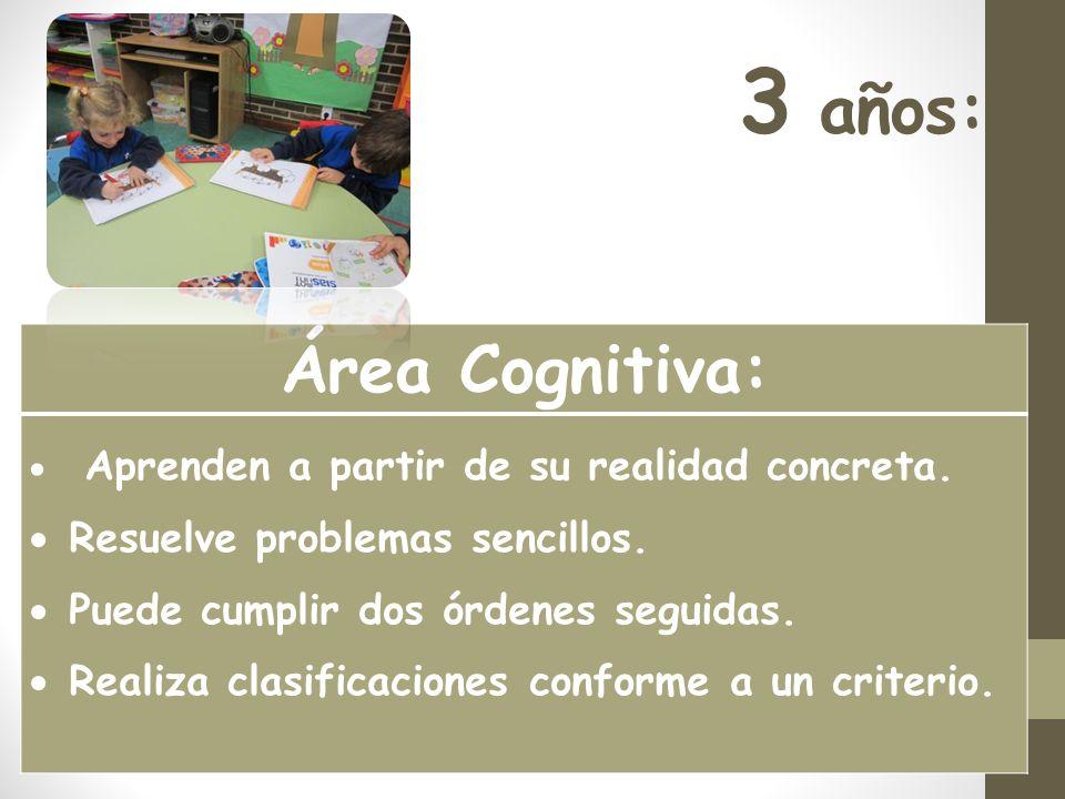 3 años: Área Cognitiva: Resuelve problemas sencillos.