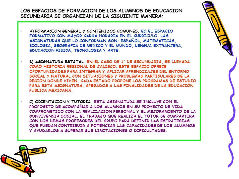 LOS ESPACIOS DE FORMACION DE LOS ALUMNOS DE EDUCACION SECUNDARIA SE ORGANIZAN DE LA SIGUIENTE MANERA: