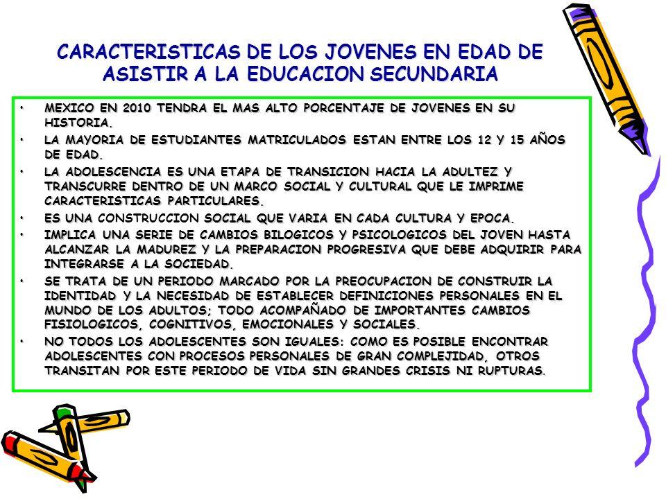 CARACTERISTICAS DE LOS JOVENES EN EDAD DE ASISTIR A LA EDUCACION SECUNDARIA