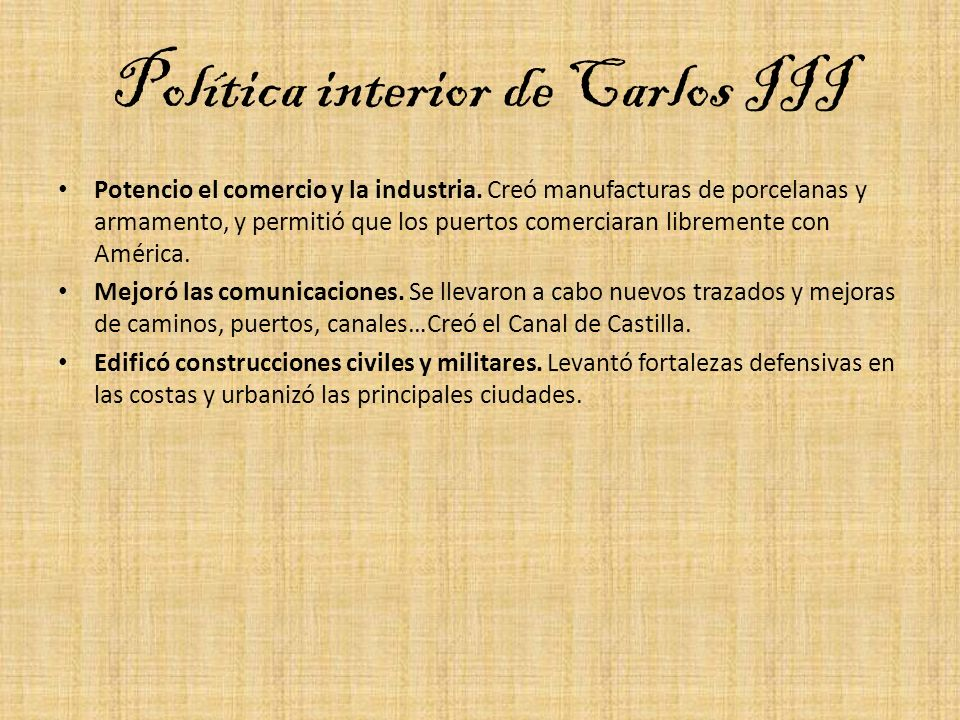 Política interior de Carlos III