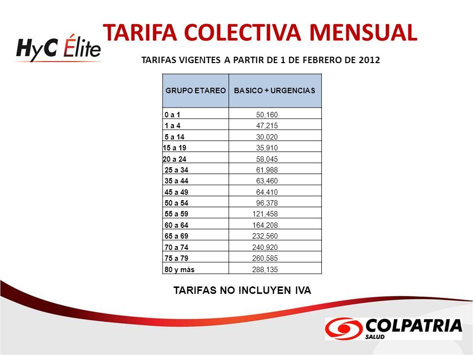 TARIFA COLECTIVA MENSUAL