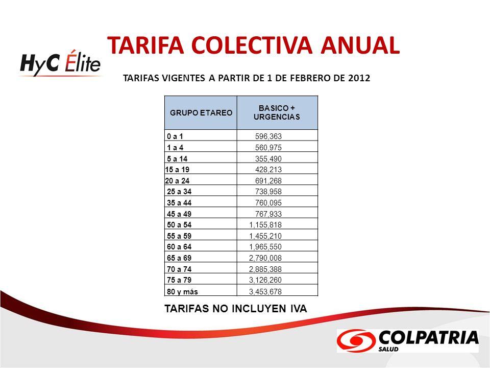 TARIFA COLECTIVA ANUAL