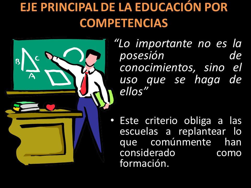 EJE PRINCIPAL DE LA EDUCACIÓN POR COMPETENCIAS