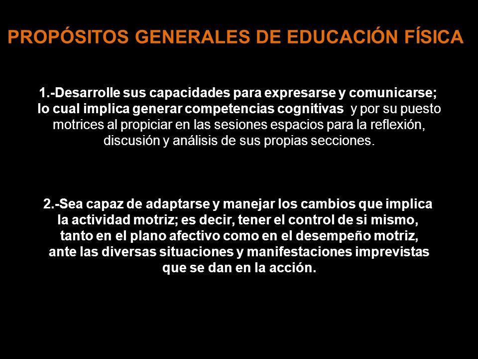 PROPÓSITOS GENERALES DE EDUCACIÓN FÍSICA