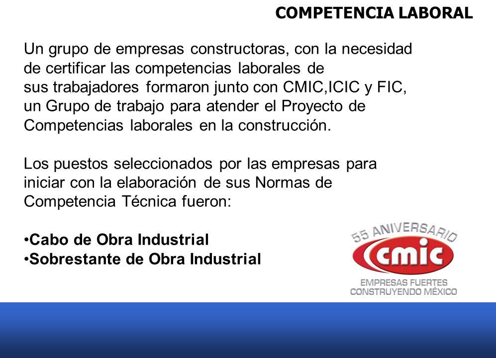 COMPETENCIA LABORAL Un grupo de empresas constructoras, con la necesidad de certificar las competencias laborales de.