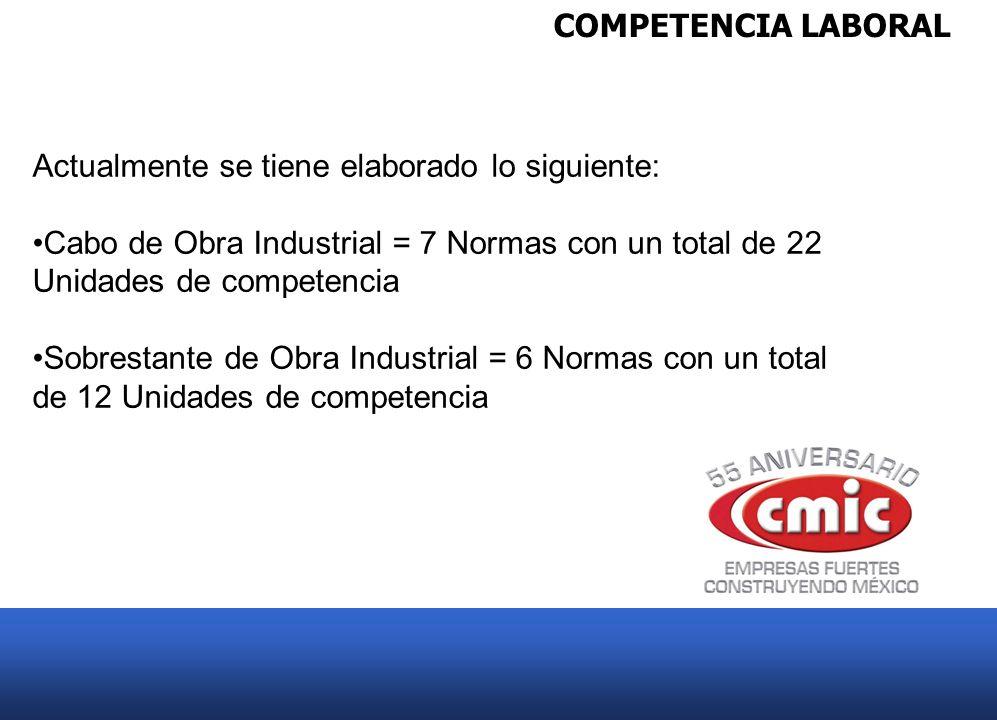 COMPETENCIA LABORAL Actualmente se tiene elaborado lo siguiente: Cabo de Obra Industrial = 7 Normas con un total de 22 Unidades de competencia.