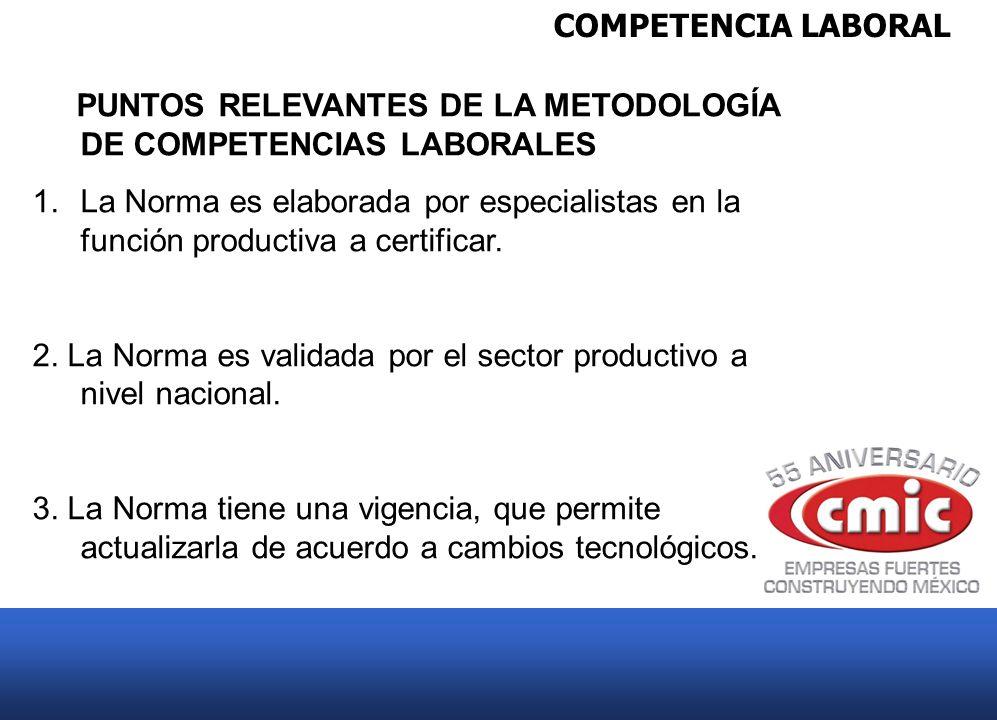 COMPETENCIA LABORAL PUNTOS RELEVANTES DE LA METODOLOGÍA DE COMPETENCIAS LABORALES.