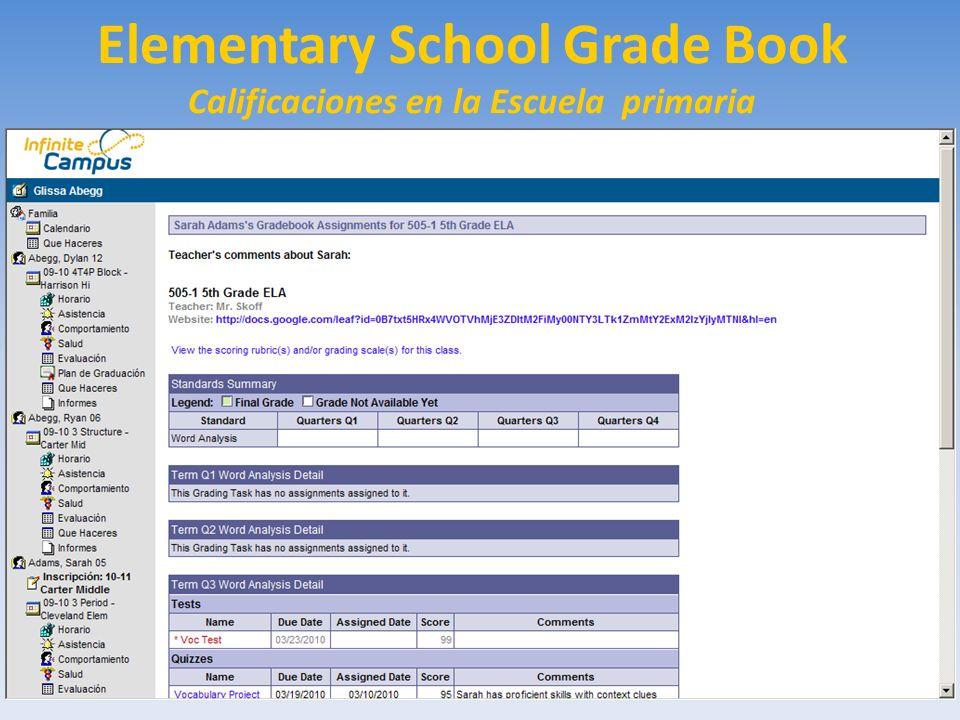 Elementary School Grade Book Calificaciones en la Escuela primaria