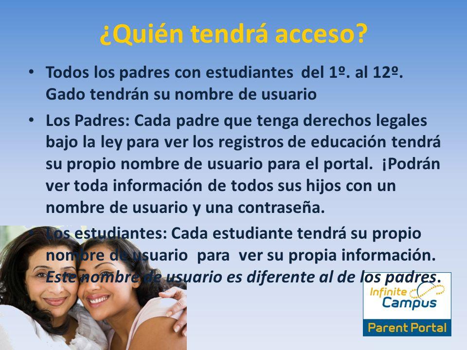 ¿Quién tendrá acceso Todos los padres con estudiantes del 1º. al 12º. Gado tendrán su nombre de usuario.