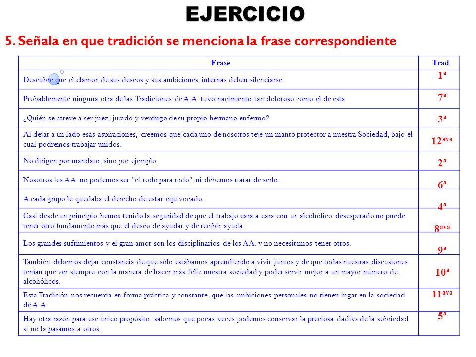 EJERCICIO 5. Señala en que tradición se menciona la frase correspondiente. Frase. Trad.