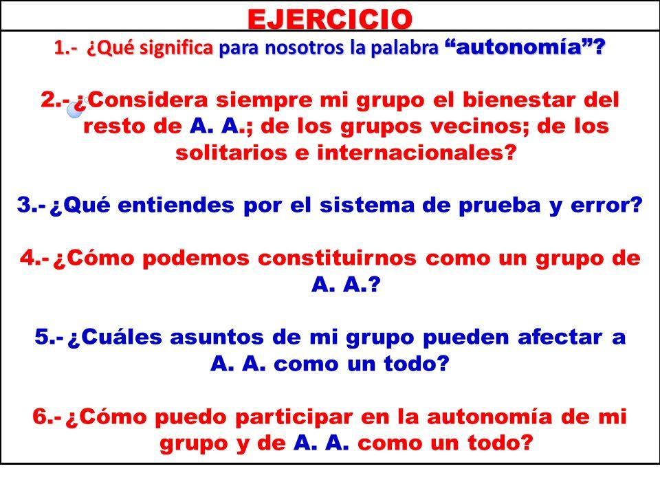 EJERCICIO 1.- ¿Qué significa para nosotros la palabra autonomía
