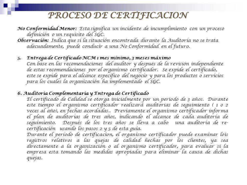 PROCESO DE CERTIFICACION