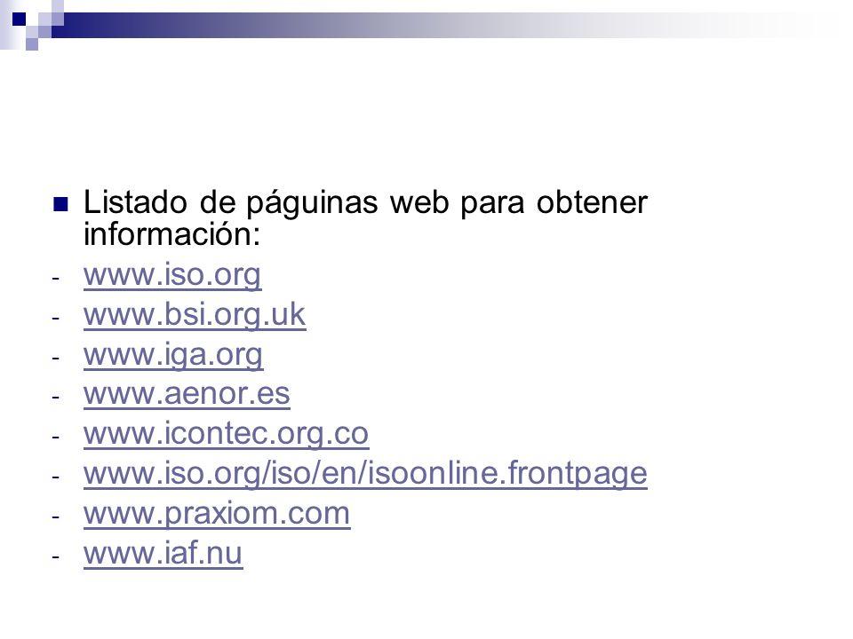 Listado de páguinas web para obtener información: