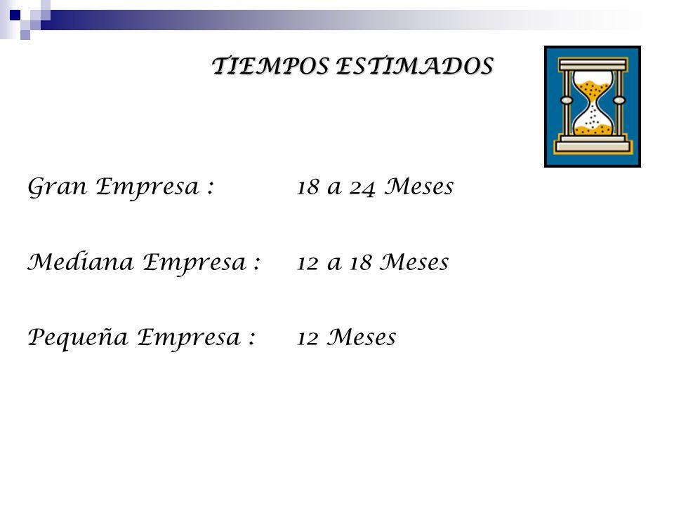 TIEMPOS ESTIMADOS Gran Empresa : 18 a 24 Meses. Mediana Empresa : 12 a 18 Meses.