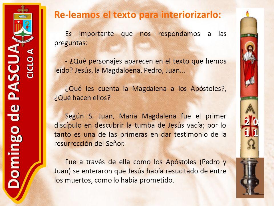 Domingo de PASCUA Re-leamos el texto para interiorizarlo: 2 1 CICLO A
