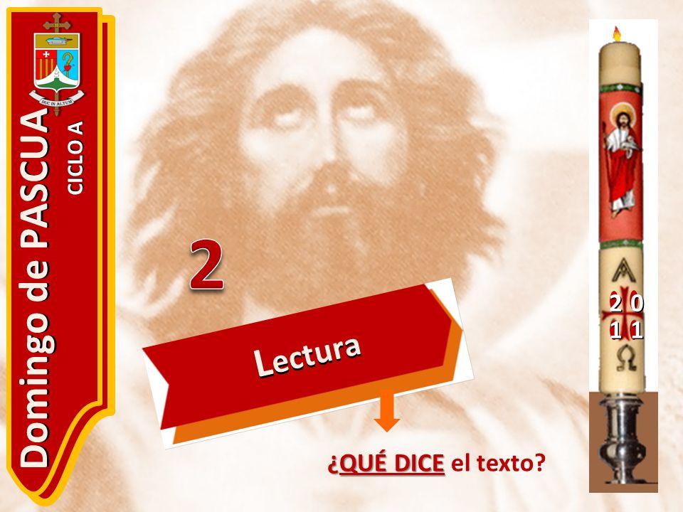 2 1 Domingo de PASCUA CICLO A Lectura 2 ¿QUÉ DICE el texto