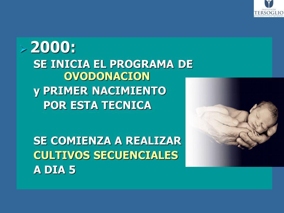 2000: SE INICIA EL PROGRAMA DE OVODONACION y PRIMER NACIMIENTO