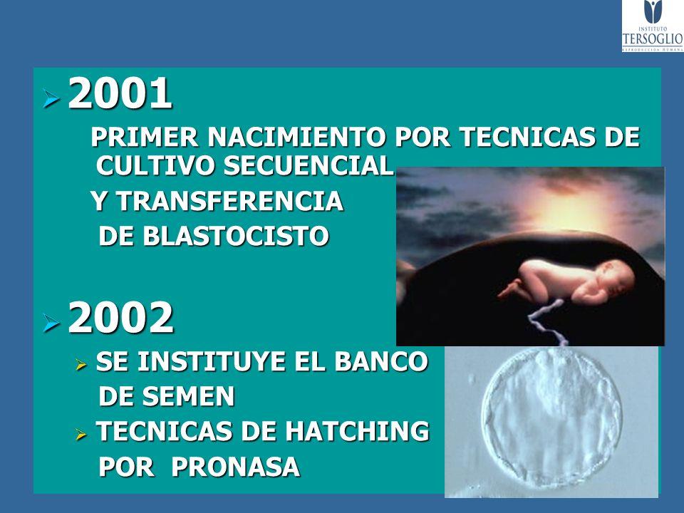 2001 2002 PRIMER NACIMIENTO POR TECNICAS DE CULTIVO SECUENCIAL