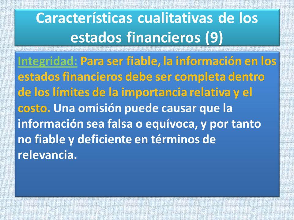 Características cualitativas de los estados financieros (9)