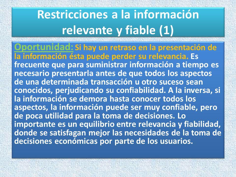 Restricciones a la información relevante y fiable (1)