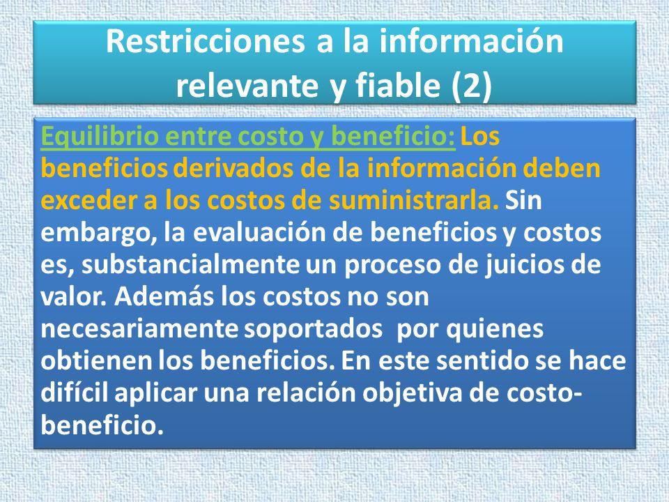 Restricciones a la información relevante y fiable (2)