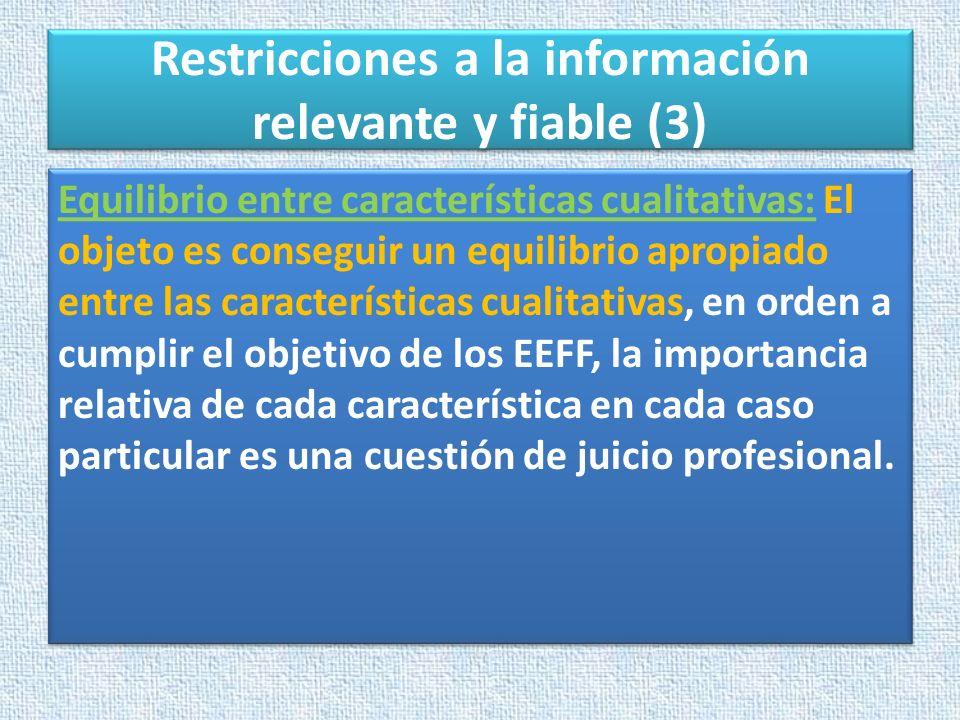 Restricciones a la información relevante y fiable (3)