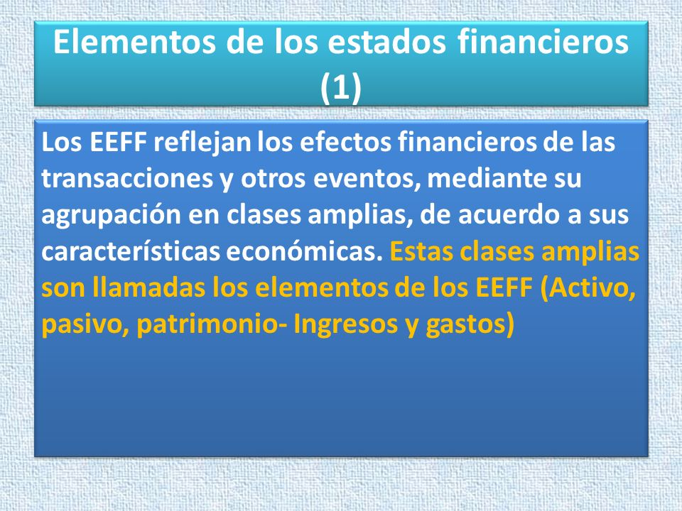 Elementos de los estados financieros (1)
