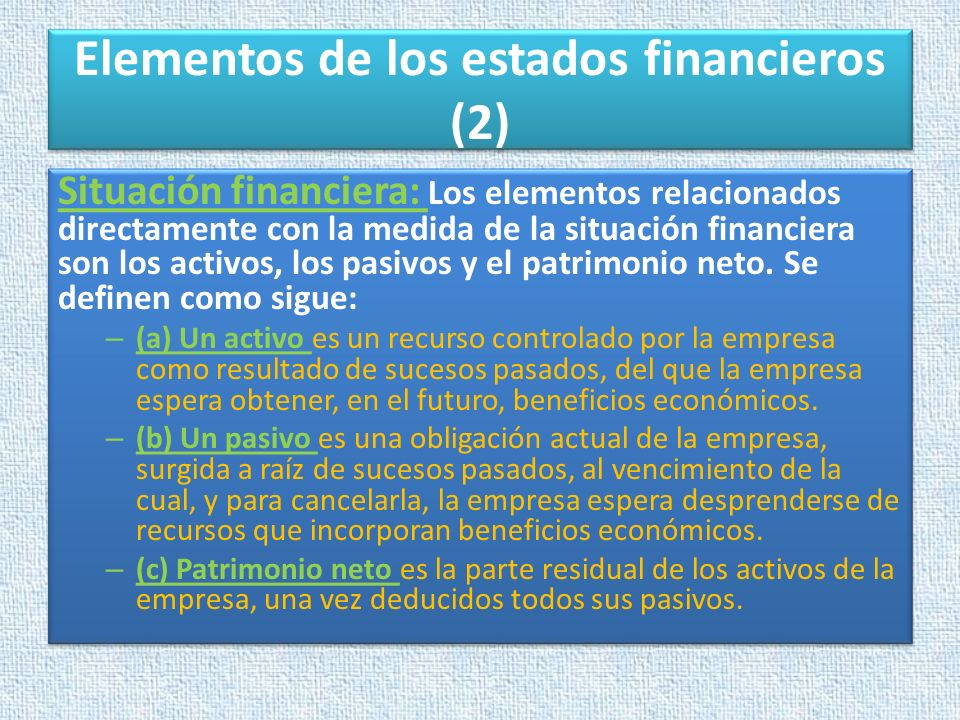Elementos de los estados financieros (2)