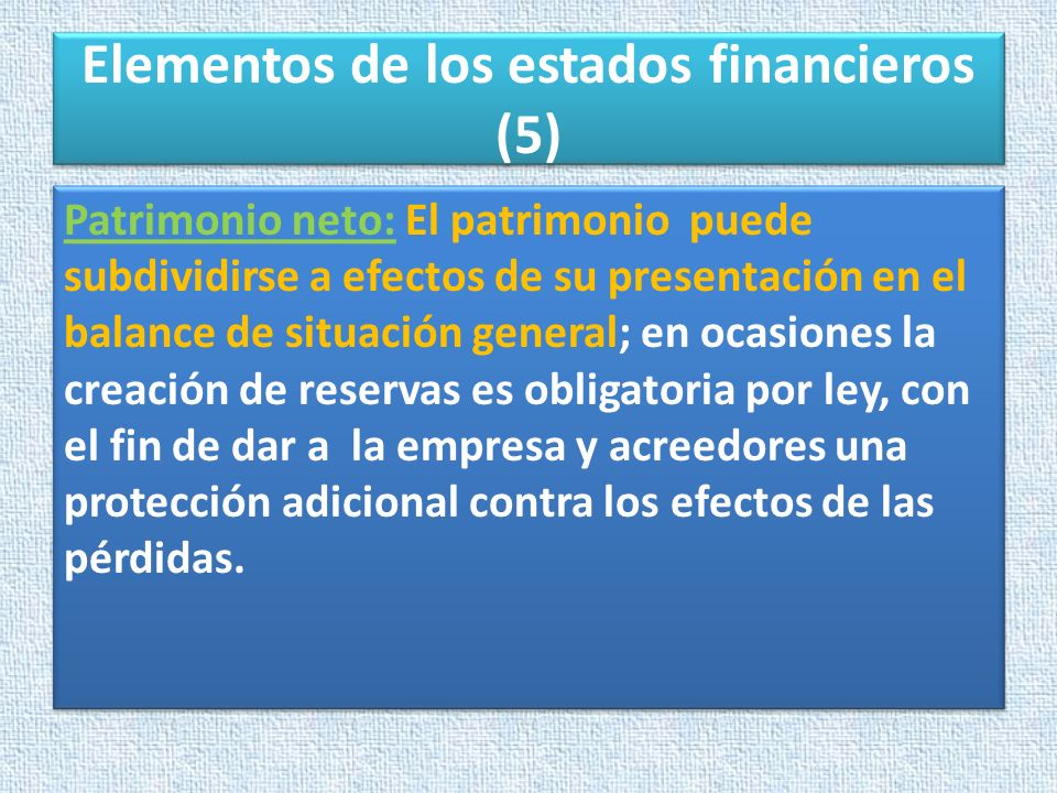 Elementos de los estados financieros (5)