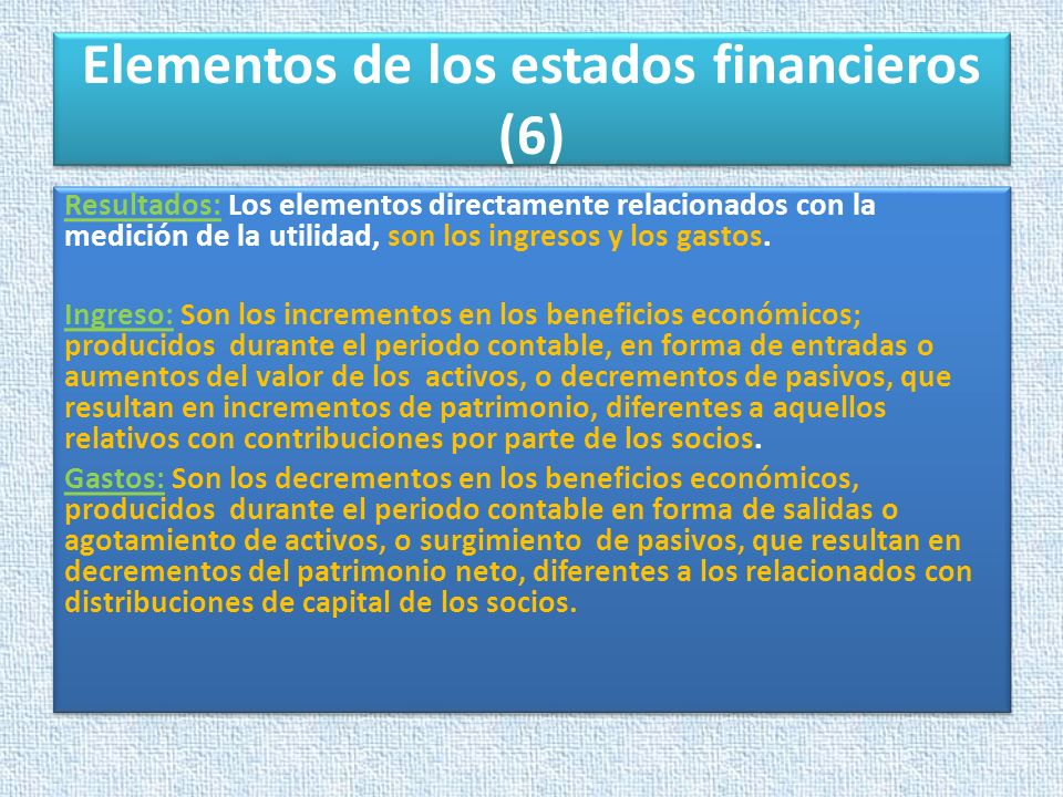 Elementos de los estados financieros (6)