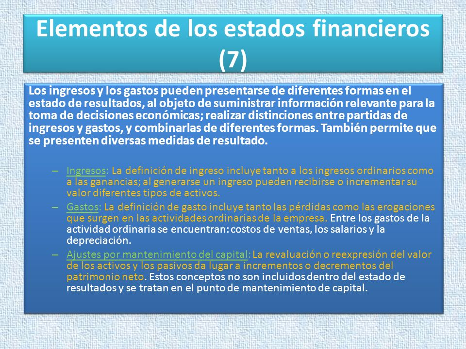 Elementos de los estados financieros (7)