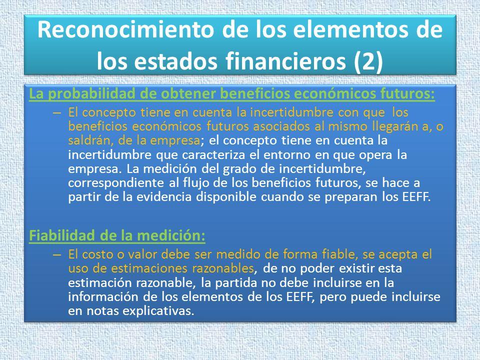 Reconocimiento de los elementos de los estados financieros (2)
